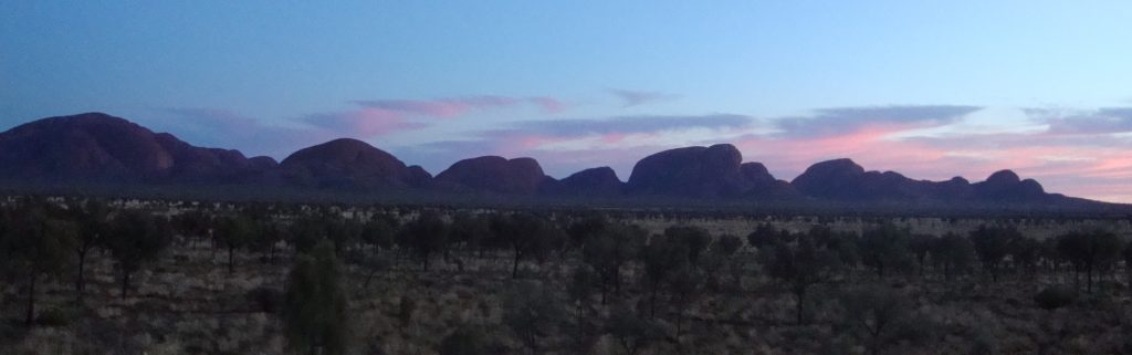 Panoramic of the Kata-Tjuta range in the distance