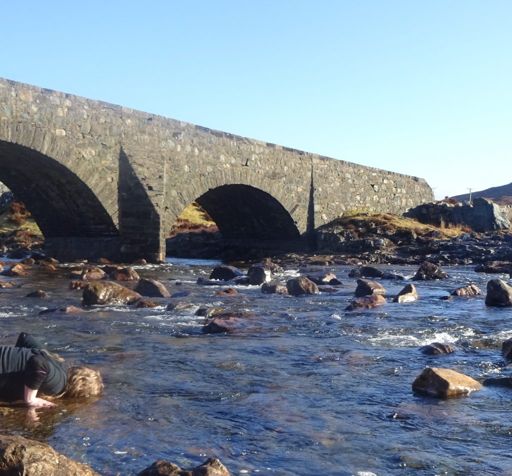 Dipping Face In Enchanted Waters At Sligachan Bridge