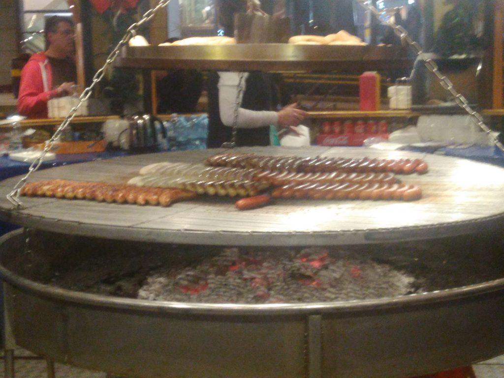 Sausages Cooking At The Christmas Markets