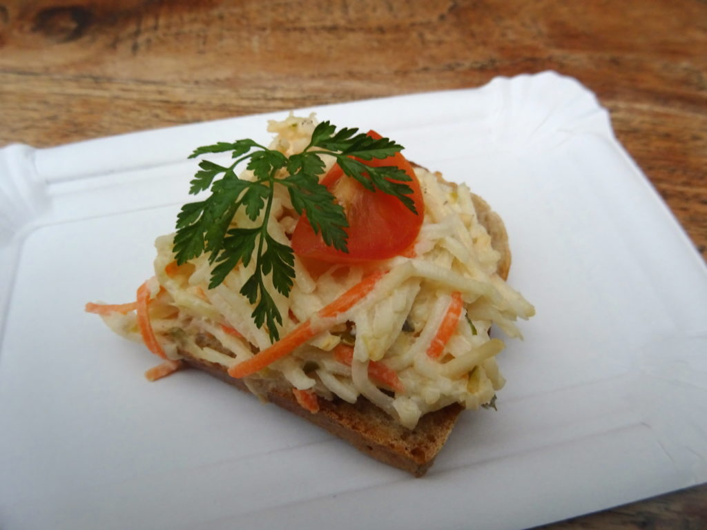 Celery Root With Carrot Open Sandwich