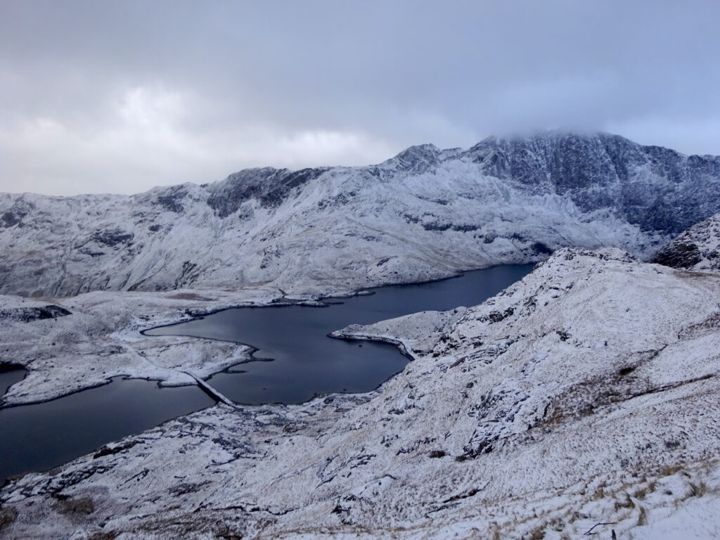 Lakes on the climb to Snowdon in the snow