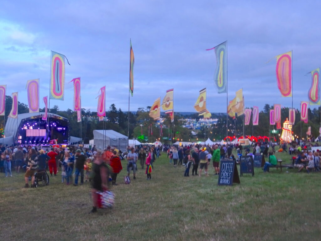 Main Stage At Beautiful Days Festival, With People Walking Past