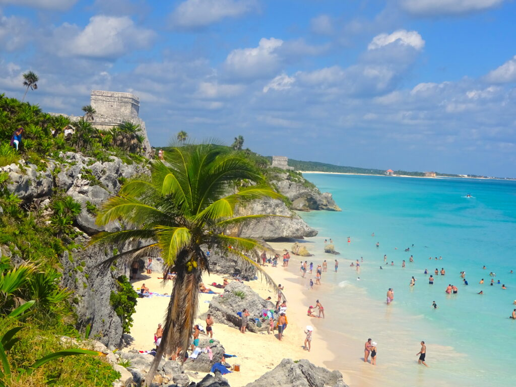 Beach and Tulum Ruins From The South