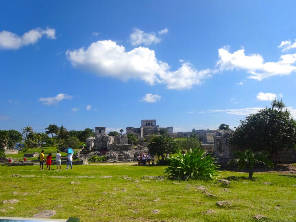 Tulum Pyramid Ruins With Tourists