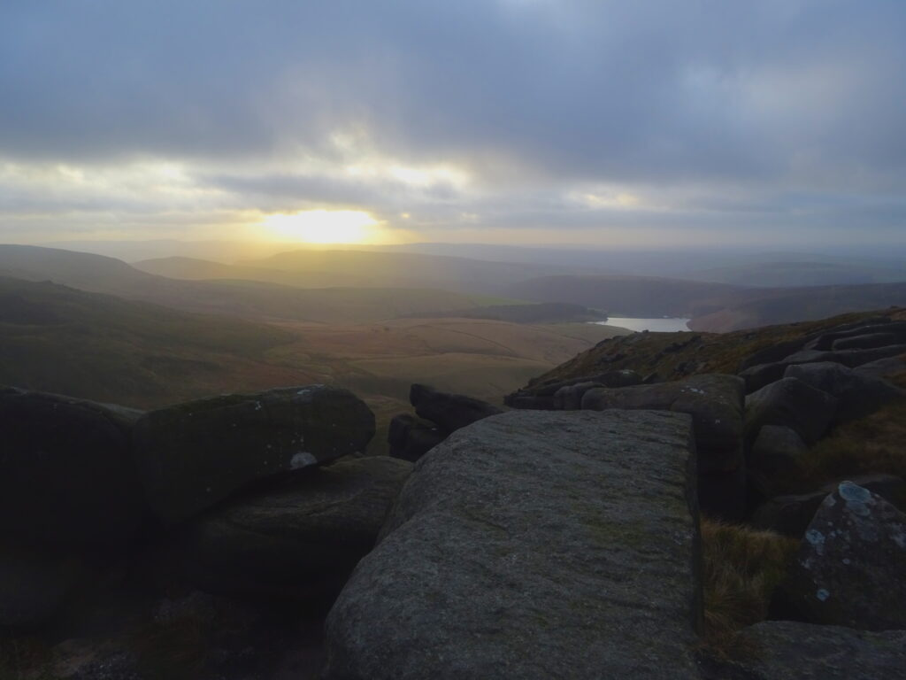 View Over The Peak District With The Setting Sun