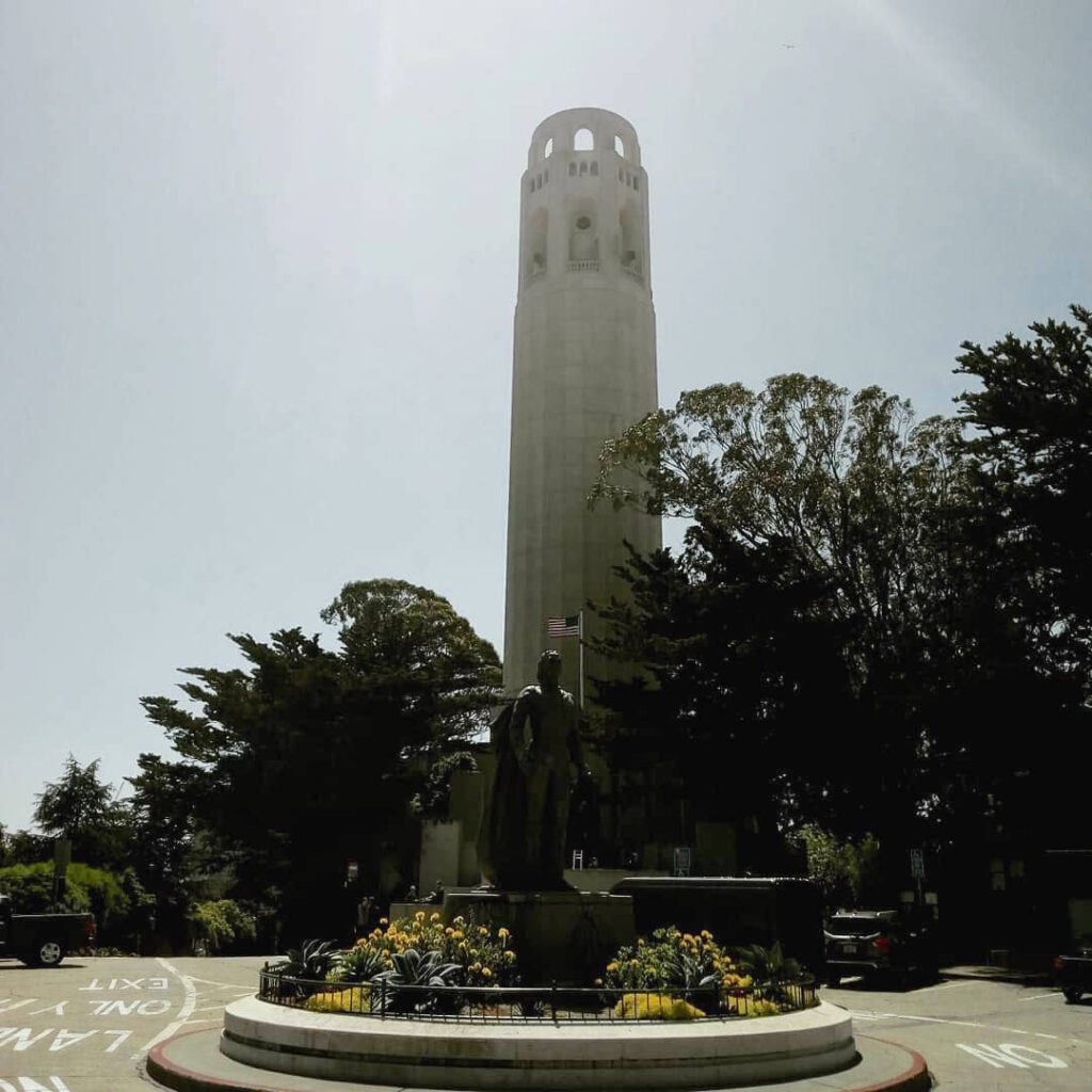 Coit Tower With Columbus Statue