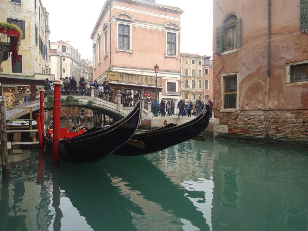 Docked Gondolas In Venice