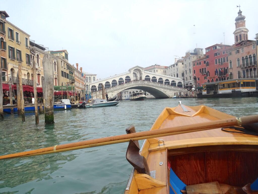 Approaching Rialto Bridge On A Boat