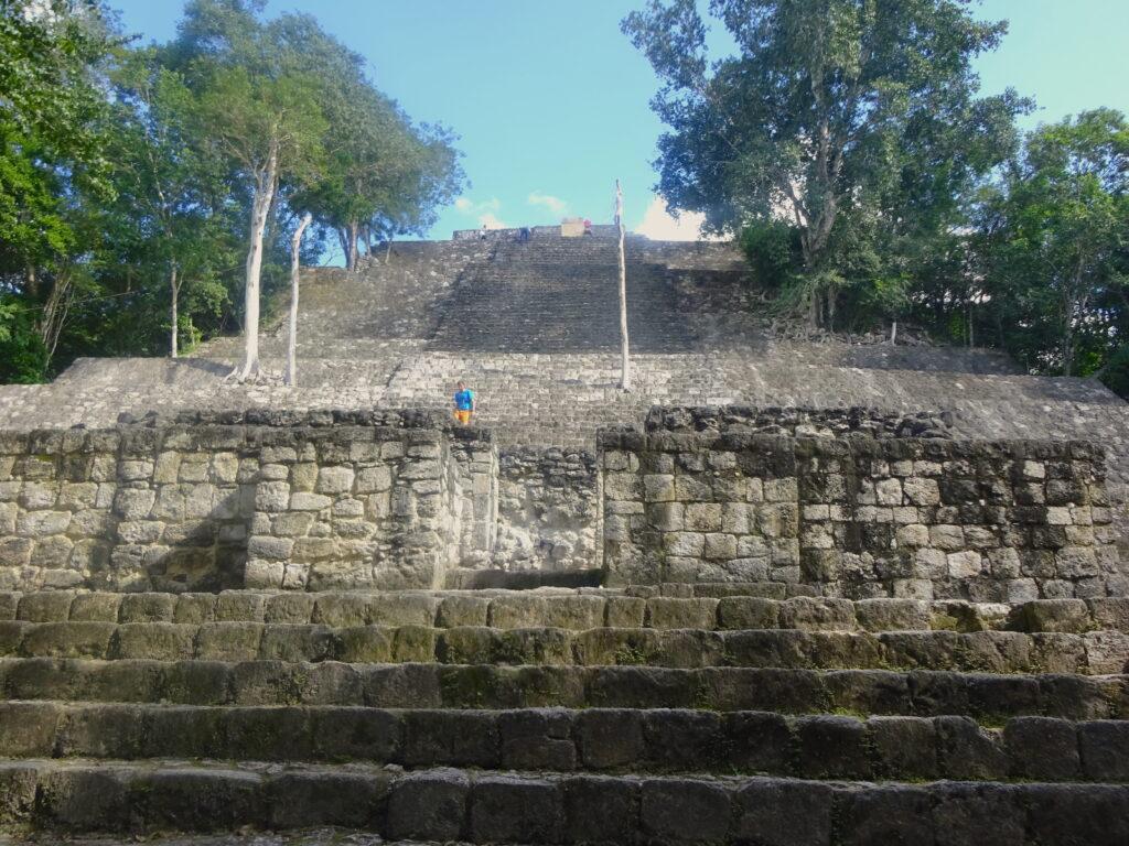 Looking Up At A Pyramid At Calakmul
