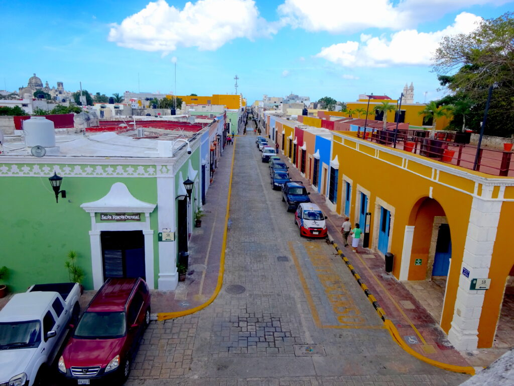 Colourful Building On A Street In Campeche Seen From The Walls