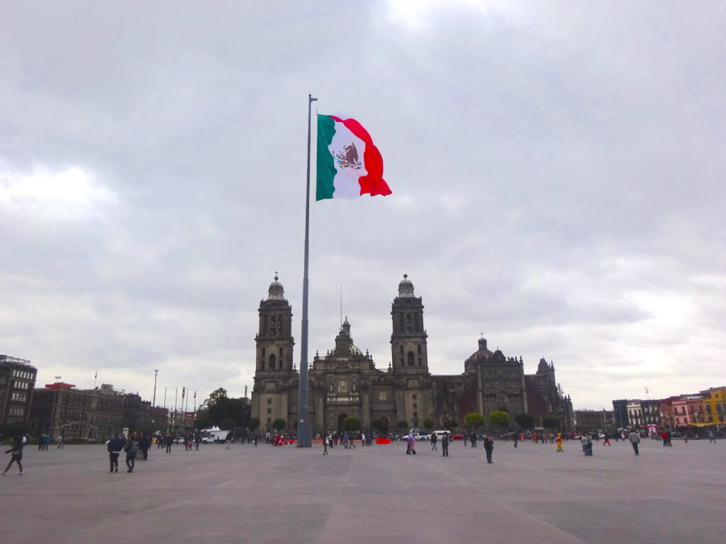 Mexico City Zocalo With Cathedral And Mexican Flag