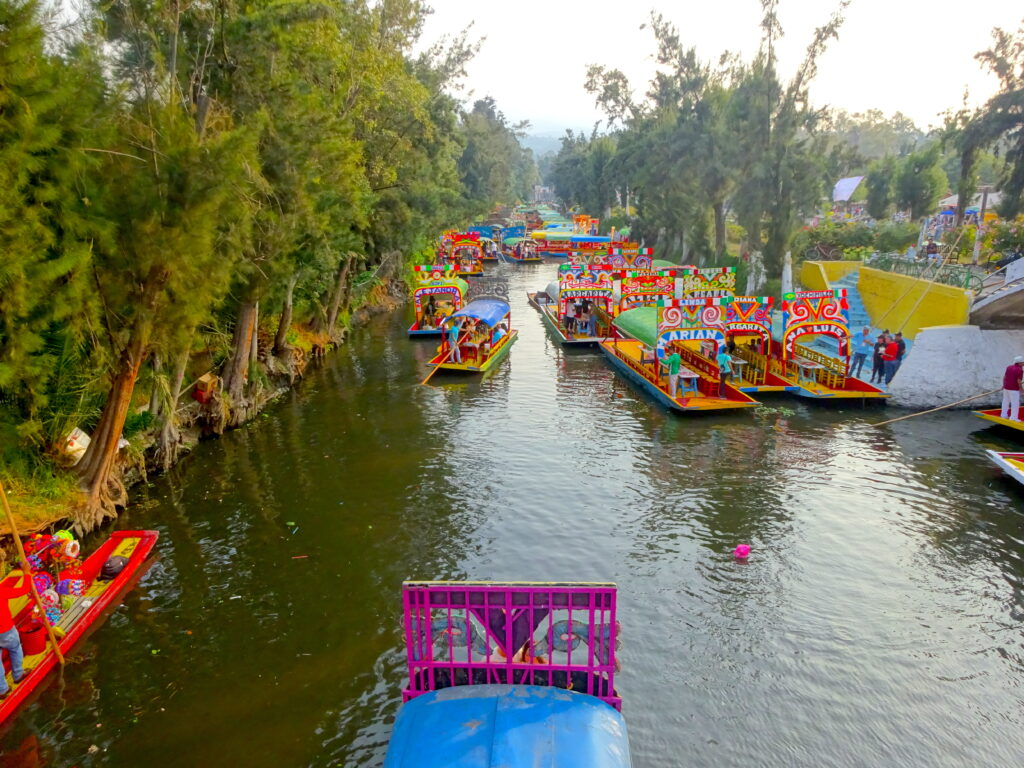 Colourful Boats On The Canals At Xochimilco