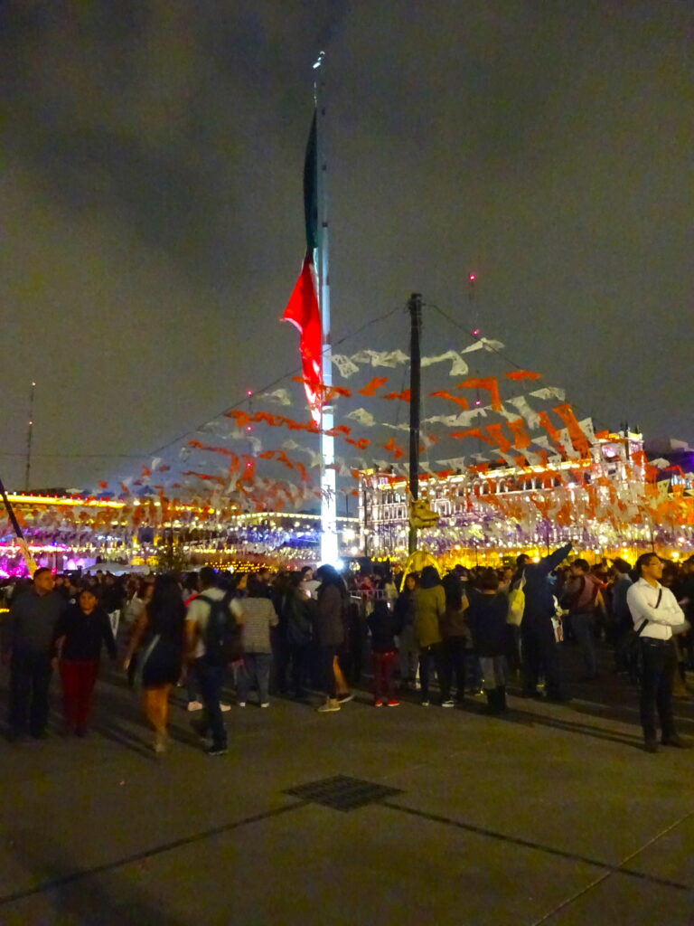 Mexico City Zocalo With Flag At Night Decorated For Day Of The Dead