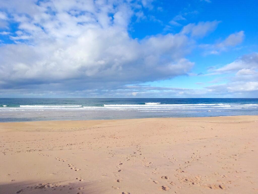 Beach And Ocean With Blue Sky